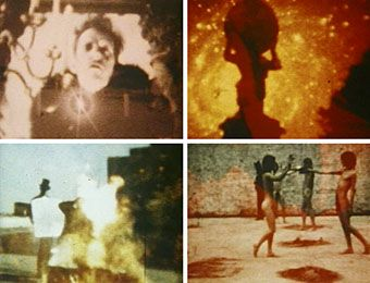 """In the Shadow of the Sun by Derek Jarman.  """"The 'poetry of fire' relies on a treatment of word and object as equivalent: both are signs; both are luminous and opaque. The pleasure of Super-8 is the pleasure of seeing language put through the magic lantern."""""""