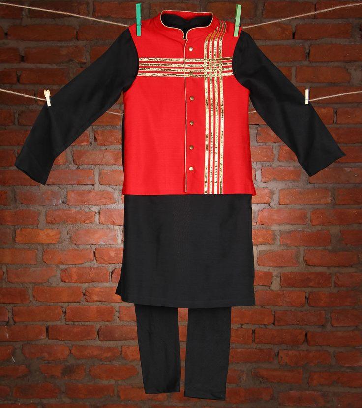 Black Red Cotton Silk #KurtaPyjama #Kidology #Indianroots