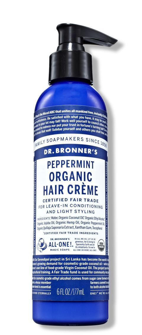 Dr. Bronner's Peppermint Organic Hair Crème, one of the 22 best green beauty products this year. 30 hair, makeup, and skin pros weigh in and explain why.