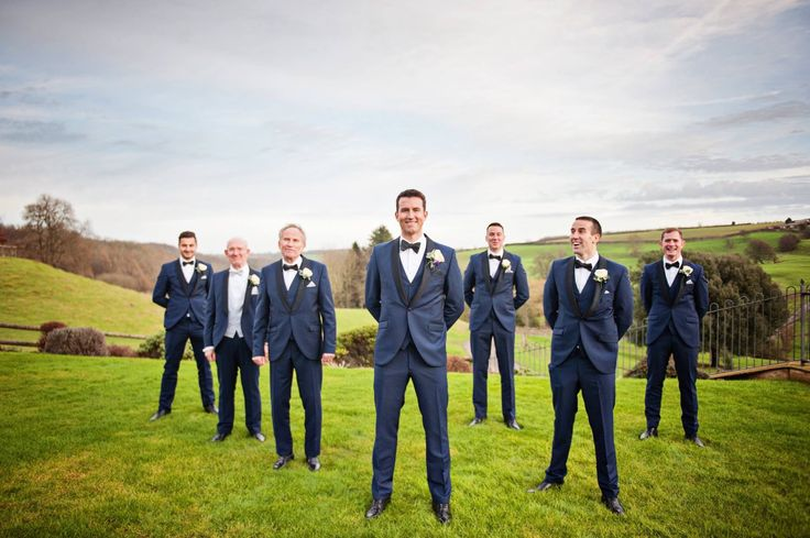 Mr Beck and his ushers in our blue slim fit tuxedo with navy bow tie.