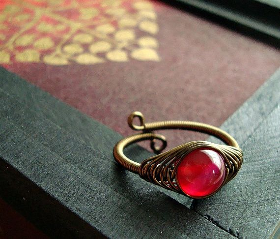 Pink Agate Wire Ring, Raspberry Agate Wire Wrapped Ring, Herringbone Weave Brass Wire Ring :: BellaAnelaJewelry Shop :: $28.00