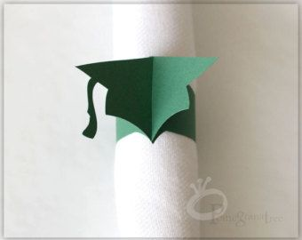 Decoración de fiesta de graduación, Colegio colores, anillos de servilleta de papel, casquillo de la graduación, Grad Cap servilletas, fiesta, verde oscuro, Set de 10 GC40