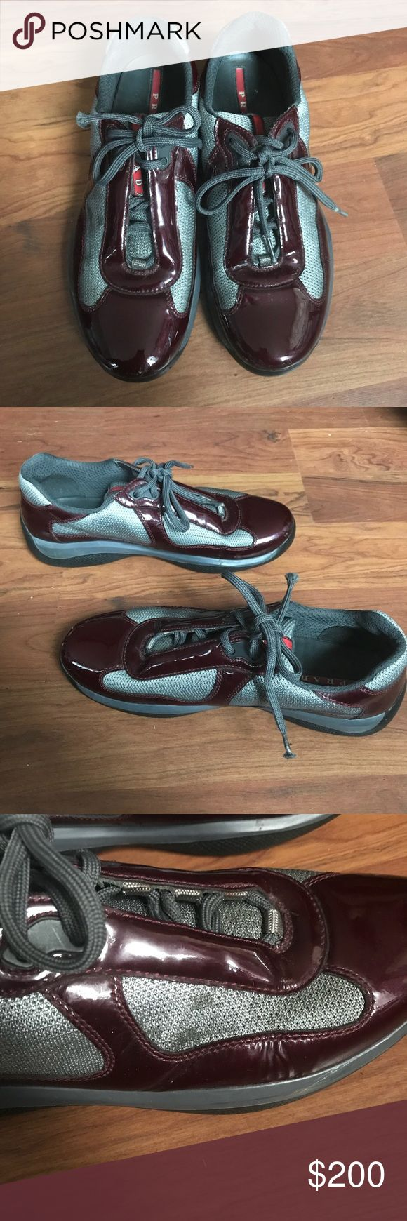 Prada shoes men burgundy Authentic, size 7.5 Men, PS0906, has some scuff on the toe cap and stains in the side of the shoe pictured above. However I believe it can be removed. Original price $600. Price negotiable. Does not come with the box Prada Shoes Sneakers