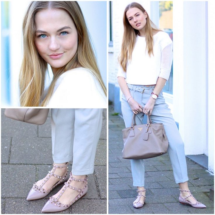 голубые брюки с белой блузкой