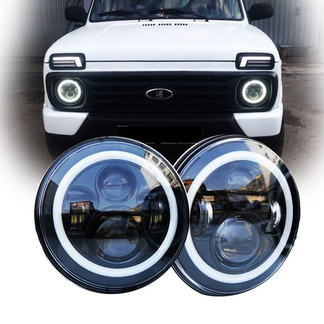 7 Inch 40w H4 Led Headlights With Angel Eyes Halo For Lada 4x4 Urban Niva Land Rover 90 110 Defender 7round Projector Headlamp R Led Headlights Land Rover Niva