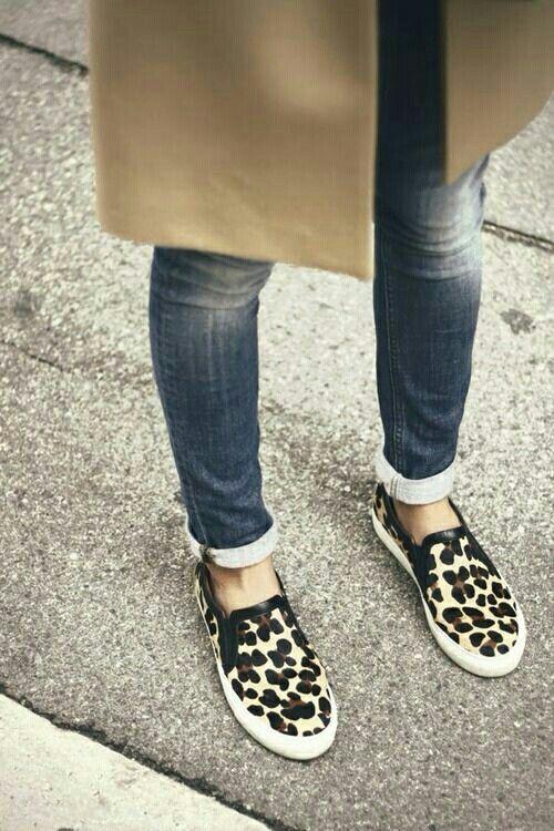 Leopard print slip on shoes.