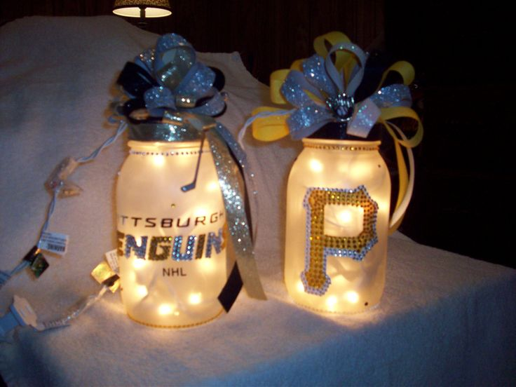 Pittsburgh Pirate Penguins or Steeler Mason Jar by TheCRAFTYFan, $30.00
