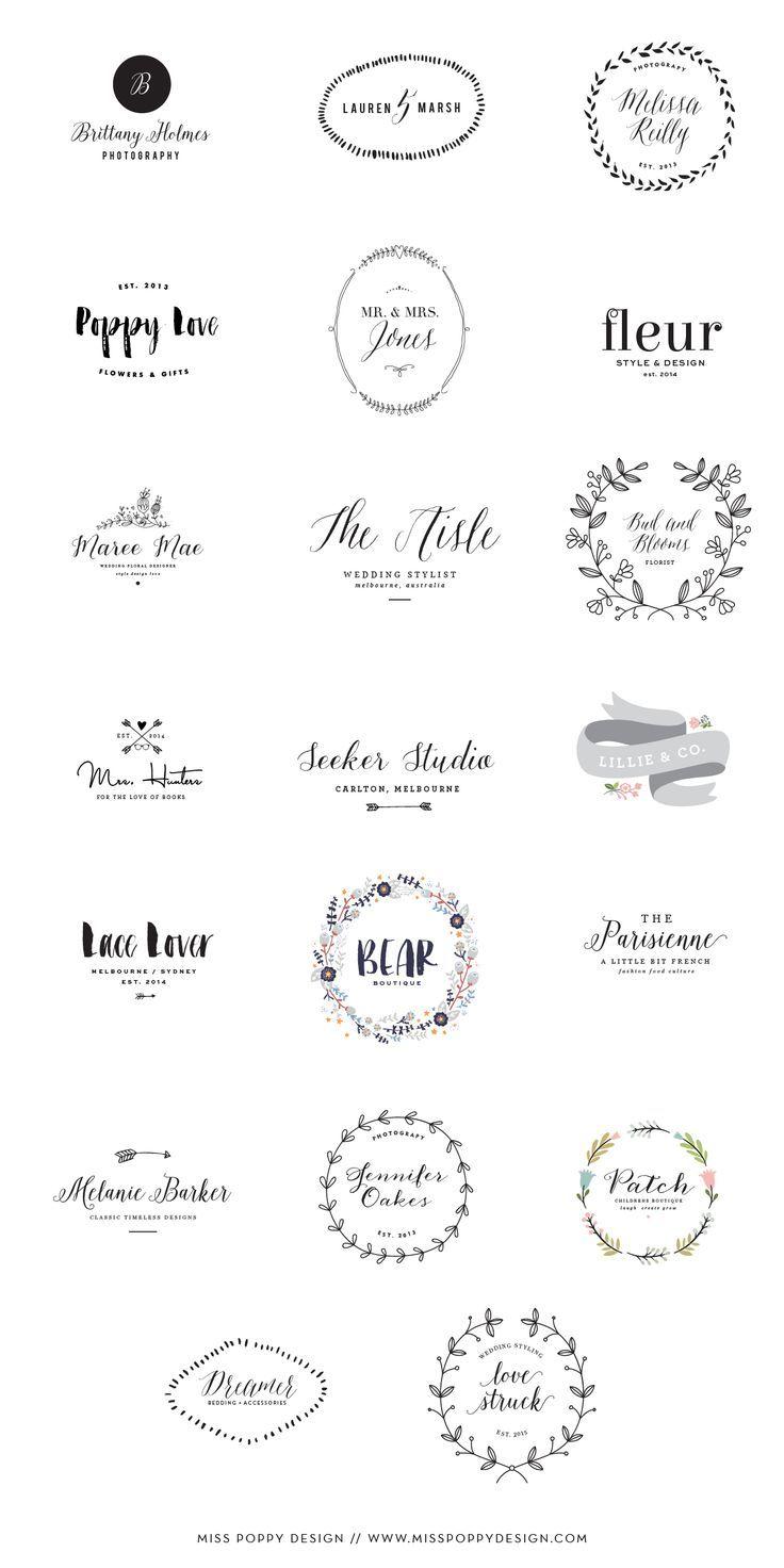 Miss Poppy Design / New Pre Designed Logo Collection / Photographer / Florist / Designer / Graphic Design / Wedding Planner: