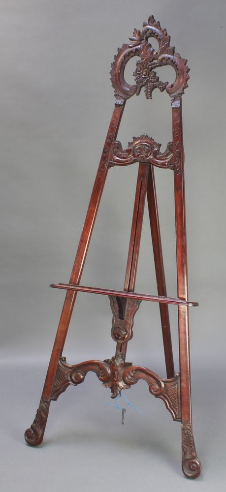 "Lot 88, A 19th Century style carved mahogany easel, 78""h est £100-150"
