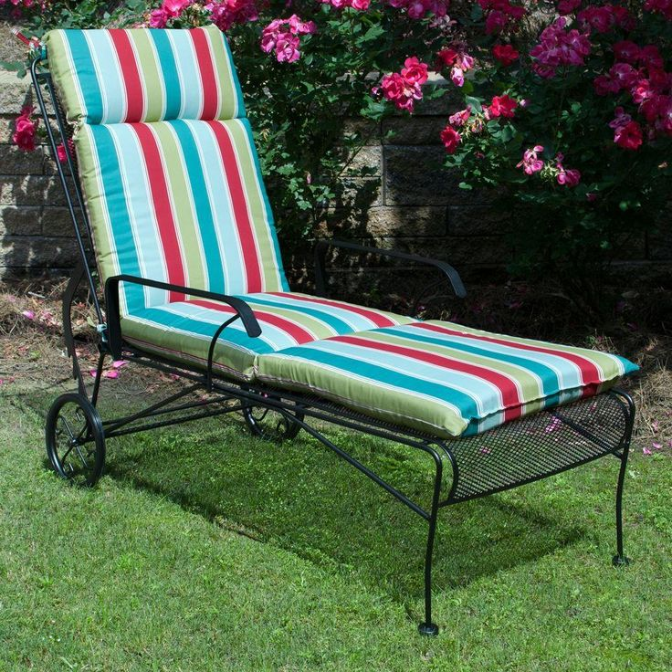 Plantation Patterns Hampton Bay Caroll Stripe Outdoor Chaise Lounge Cushion  Available At The Home Depot.