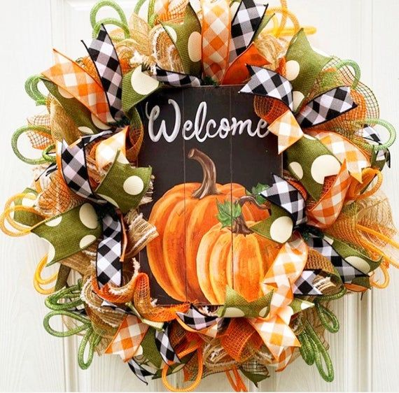 Thanksgiving Wreath For Your Door Fall Wreath For Your Door Etsy In 2020 Thanksgiving Wreaths Fall Wreath Fall Thanksgiving Wreaths