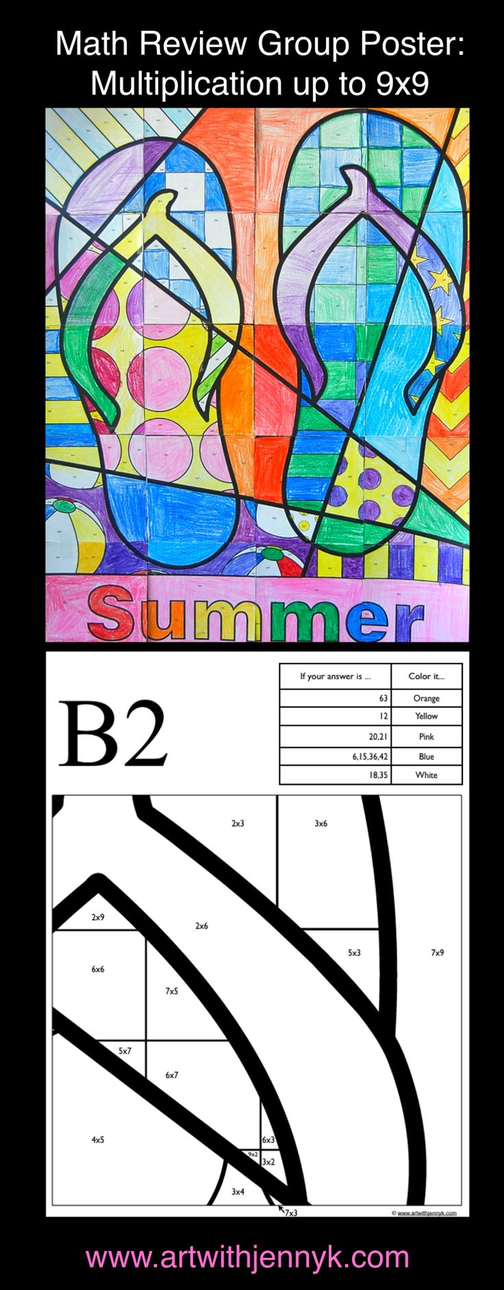 Use art to review math! The colors on every page of this large, classroom mosaic poster are assigned based on the answers to math problems written on each sheet. Multiplication through the 9s times tables is reviewed on this poster. In the end you'll have a beautiful summer poster to display in your room or at your school!