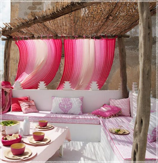 pink paradise!: Patio Design, Terrace, Feng Shui, Idea, Outdoor Living, Color, Moroccan Style, Pink, Outdoor Spaces