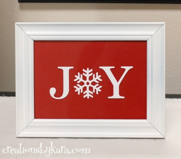 DIY Christmas Frame -- use old unmatched frames that you haven't found anything to do with.