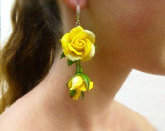 Floral Earrings, Blue Earrings, Blue Flower Earrings, Rose Earrings, Flower Jewelry, Jewelry Earrings,Polymer Clay Jewelry, Long Fashion,…