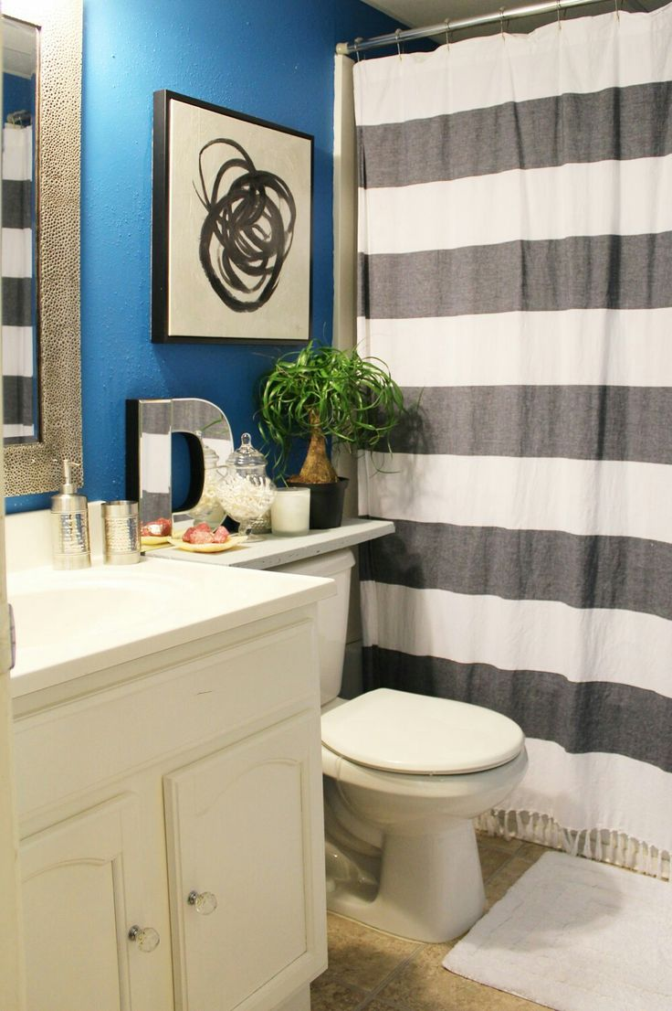 Rental apartment bathroom ideas - My Apartment Small Blue Bathroom Reveal Whitney J Decor