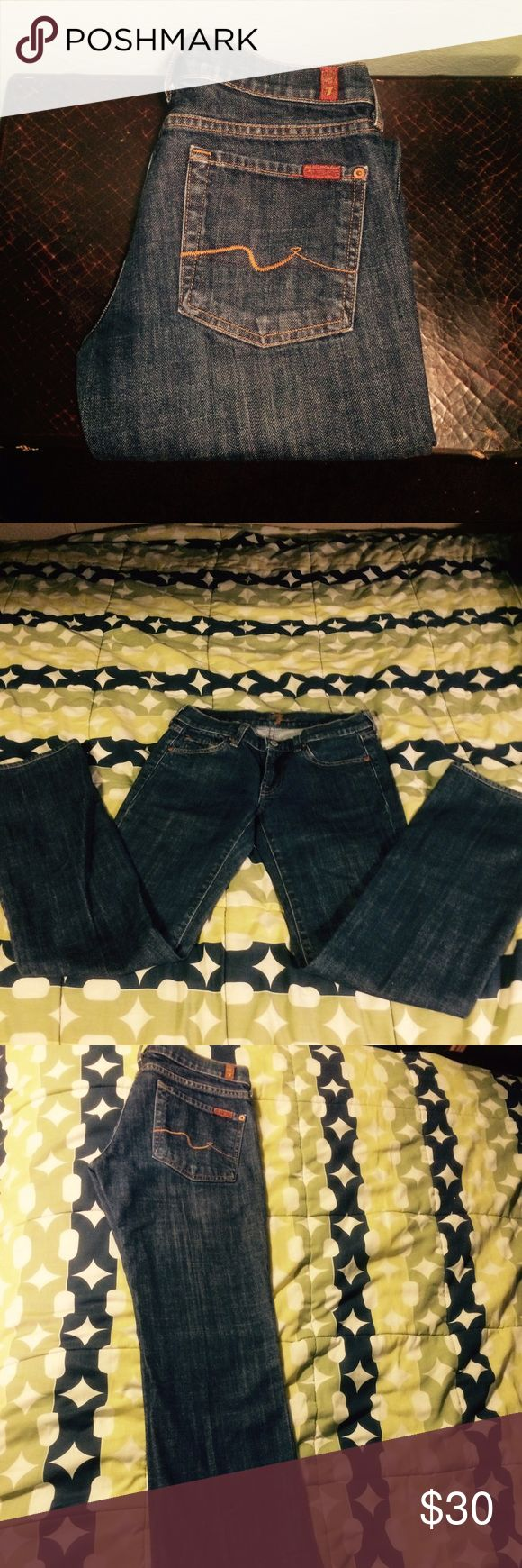 7 jeans Dark wash 7 for all mankind straight leg with a little flaire jeans, great shape! 7 For All Mankind Jeans Straight Leg