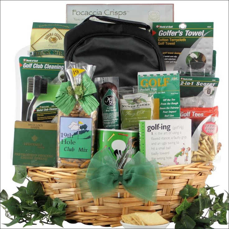 Deluxe Golfer Gourmet Golf Gift Basket Send him this grand golf gift basket packed with unique golf gift items including GOLF-ING- one of the funniest books ever published on its subjected of ''golfin