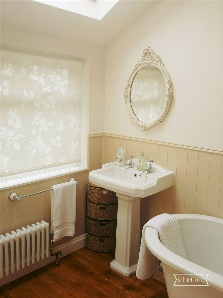 DIY bathroom project. Homebase blinds. Tongue and groove panelling painted Stone by Homebase. Dunelm towel rail. Seagrass corner unit. Vintage oval mirror.