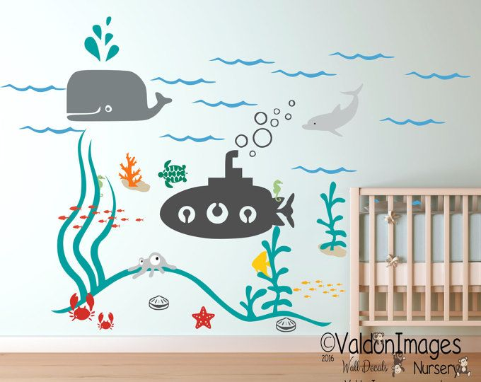submarine ocean nursery wall decal, kids wall decal, nursery decals