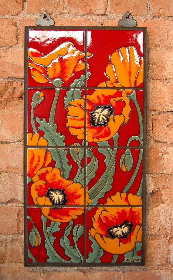 Hand Glazed Orange and Red Ceramic Tile Poppy Mural
