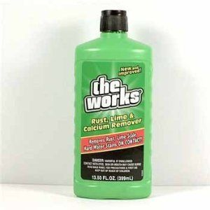 The Works Rust, Lime & Calcium Remover by Homecare Labs. $3.75. Removes rust, lime scale, hard water stains on contact.. THE WORKS (GREEN BOTTLE) 13.5 OUNCE BOTTLE. POWERFUL MULTIPURPOSE CLEANSER, STAIN REMOVER AND DEGREASER.
