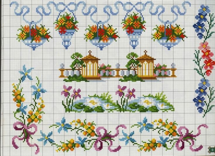 Floral border patterns / chart for cross stitch, crochet, knitting, knotting, beading, weaving, pixel art, micro macrame, and other crafting projects.