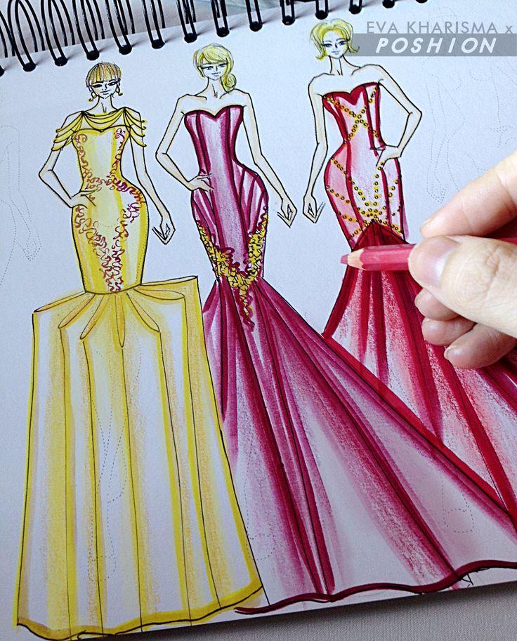 Poshion Sketch Book | #fashionillustration #sketchbook #fashionsketch #fashiondesign #draw #croquis #learntodraw #fashionposes #fashionstudent #gaunpesta #fashionfigure