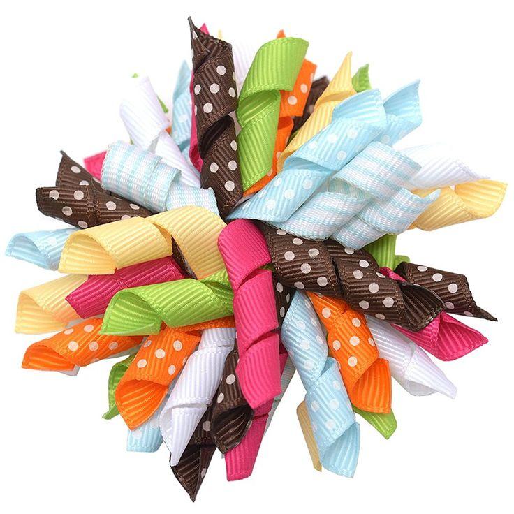 Girls Multi Color Korker Curled Ribbon Alligator Hair Clippie *** Click image for more details.
