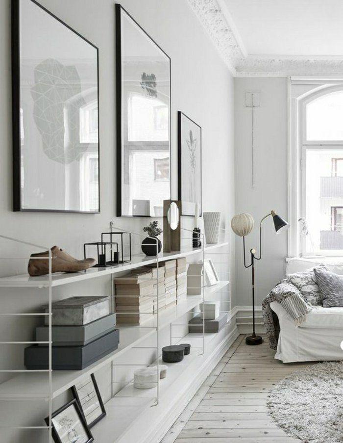 salon décoration murale, peintures murales blanc-noir, étagère murale design moderne