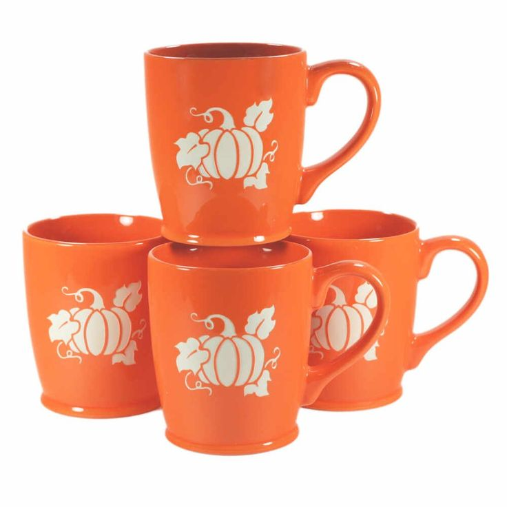 PUMPKIN Mugs - Set of 4 ORANGE - 16oz Dishwasher-Safe Sandblasted Ceramic. PUMPKIN SPICE LIFE FOREVER!! Microwave-safe and dishwasher-safe. We carved all the way through the bright, colorful glazes of these extra large PUMPKIN mugs so that the bold natural stoneware ceramic can be seen. You'll get 4 ORANGE mugs, or contact us to request different colors. Engraving will never wear or stain. Food-safe! Glaze you can feel good about: meets CA's Prop 65 limits for leaching of lead & cadmium...