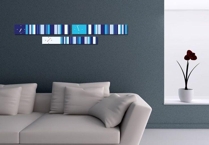 Interior Wall Clock Blues Home Decor, Modern Luxury 3pcs Framed Wall Art   #LEMONART #ArtDeco