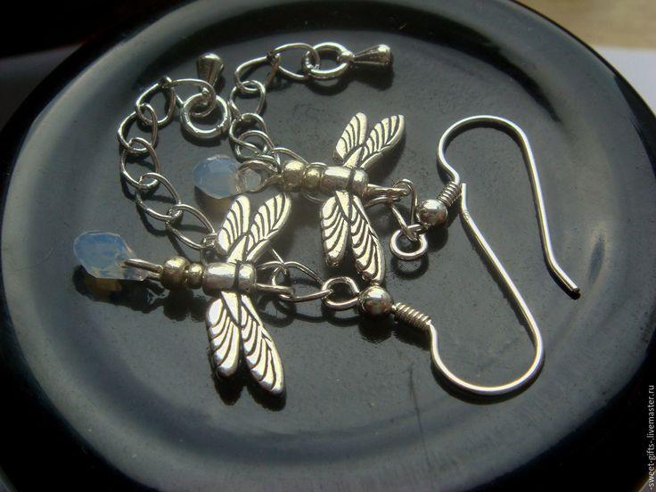 """Купить Серьги серебряные """"Стрекоза"""" - серебряный, серебряные украшения, серебряные серьги, серьги, серьги цепочки"""
