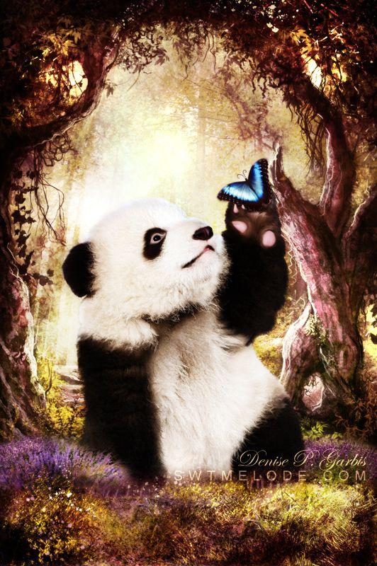 Мерцающие открытки панда, спасибо подарки