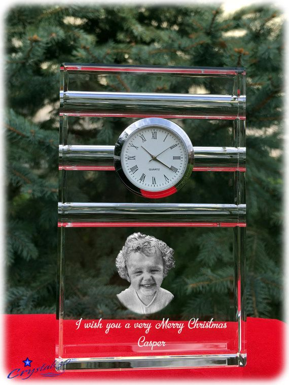 Crystal clock Christmas gift Christmas kids by Crystals3DEngraving