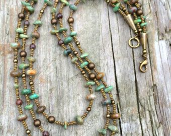 Boho Multi Strand Necklace with Labradorite by RusticaJewelry