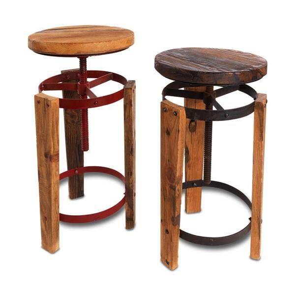 Nkuku Kruk Sula Reclaimed. Deze stoere kruk is verstelbaar in hoogte en is gemaakt van oud hout. De sterke ijzeren dragers zijn verkrijgbaar in twee kleuren: natuurlijk of rood staal. www.houseofmadu.nl
