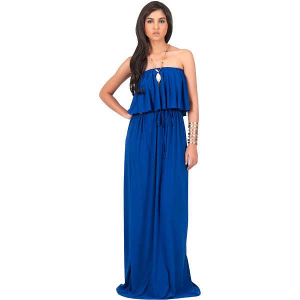 Black Ruffled Maxi Dress ($55) ❤ liked on Polyvore featuring dresses, black, plus size, strapless maxi dress, blue dress, evening dresses, formal maxi dresses, plus size formal dresses and formal cocktail dresses