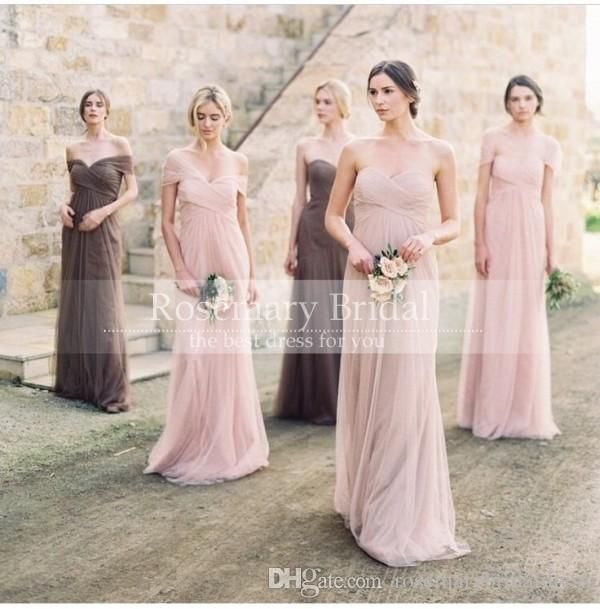 Off the Shoulder Sweetheart A Line Tull Pink Long Bridesmaid Dresses Cheap Plus Size Bridesmaids Gown Beach Online with $72.26/Piece on Rosemarybridaldress's Store   DHgate.com