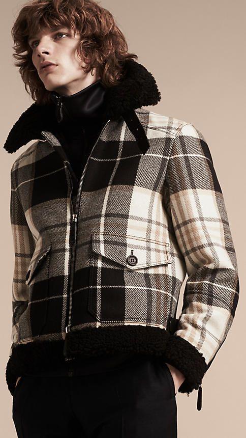 Preto Jaqueta aviador de lã com estampa xadrez tartã e detalhe de shearling - Imagem 2