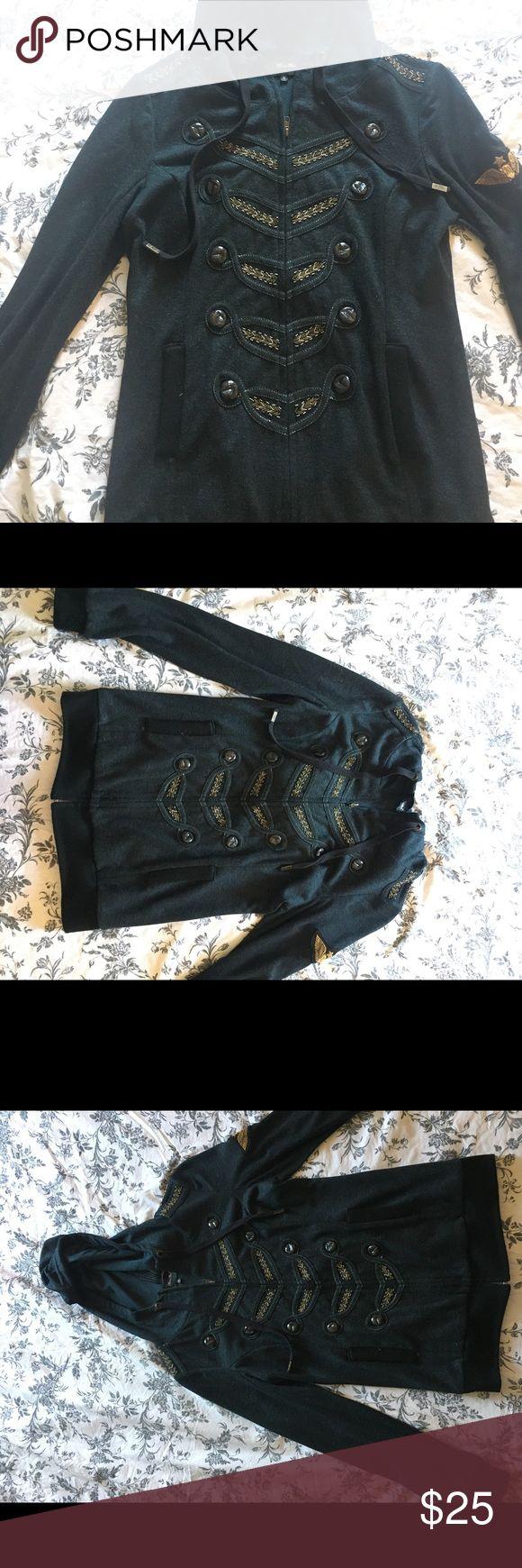 Miss Me Women's Military Style Jacket Hoodie Size medium women's Miss Me jacket Military darkish blue/green Miss Me Tops Sweatshirts & Hoodies