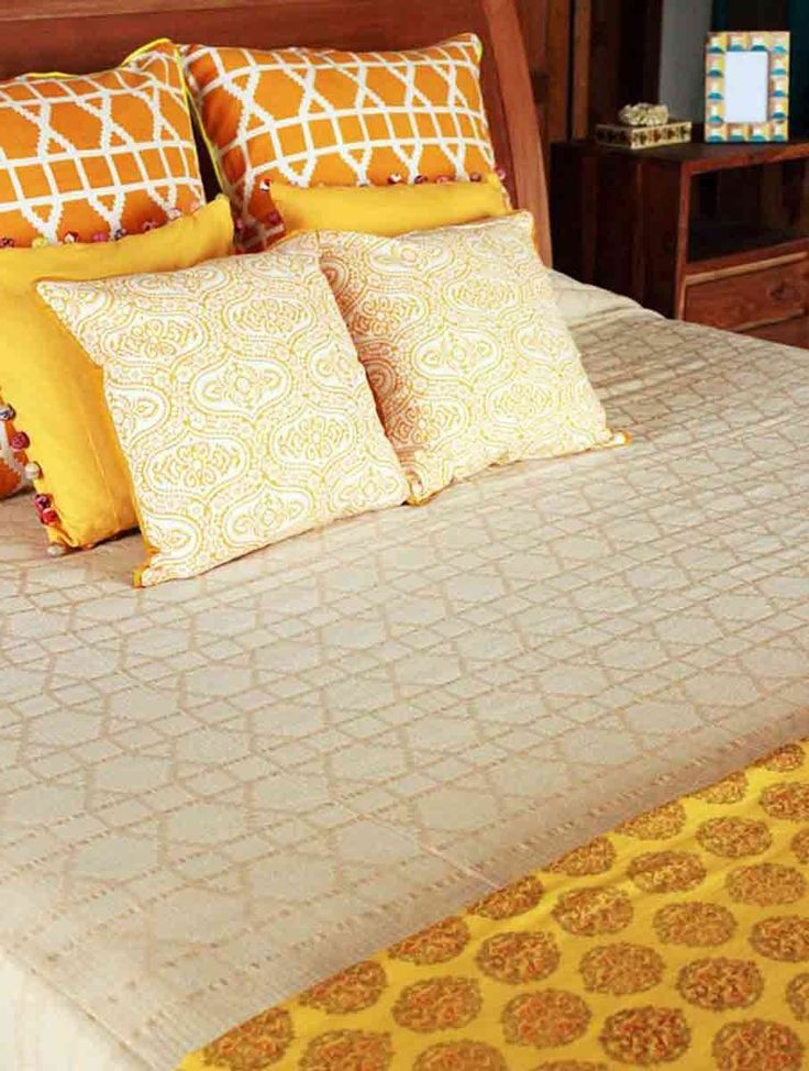 Buy Beige Lattice Cotton Double Bed Cover (108in x 90in) Woven Living Spaces Linen Online at Jaypore.com
