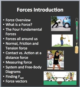 This 3-DAY, 63 slide Force Introduction lesson package / Forces Mini Unit begins with an Overview of Force which requires students to collaboratively think about the topic and create a definition. The Four Fundamental Forces are discussed as well as the Forces all around us. It then gets more specific and talks about Normal, Friction and Tension forces as well as the difference between a Contact and an Action at a distance force. Ways of Measuring force as well as System and Free-Body…
