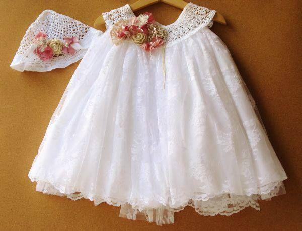 λευκο ρομαντικο φόρεμα βαπτισης