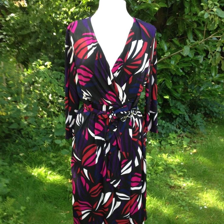 GORGEOUS Multi Coloured Dress 16, Wrap Dress, SMART, WORK, PARTY, AUTUMN, belted dress, Size Large