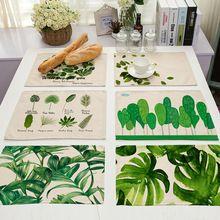 42x32 см зеленые листья узор из хлопка и льна Западная площадка столовых изоляции обеденный стол коврик чаши подставки кухонные принадлежности(China (Mainland))
