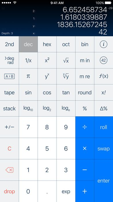 PCalc - a very powerful and customizable calculator for iPhone and iPad.