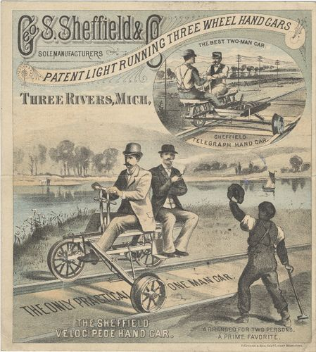 https://flic.kr/p/5HifTB | Geo. S. Sheffield & Co. | Persistent URL: digital.lib.muohio.edu/u?/tradecards,1037         Subject (TGM): Railroads; Railroad construction & maintenance; Railroad construction workers; Railroad employees; Railroad handcars; Railroad rails; Railroad tracks; Bodies of water; Ethnic groups; Ethnic stereotypes; Smoking;
