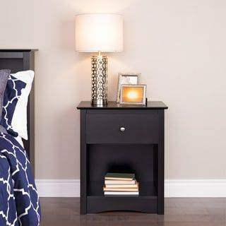 Shop for Broadway Black Wood 1-drawer Tall Nightstand. Get free shipping at Overstock.com - Your Online Furniture Outlet Store! Get 5% in rewards with Club O! - 19448385