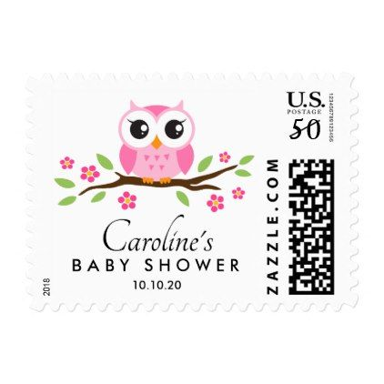 Pink owl baby shower postage with custom name - girly gift gifts ideas cyo diy special unique